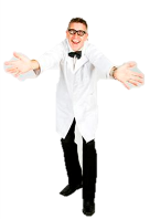 Neville is the original Nutty Professor. He is unpredictable and will always turn up the fun at your next event